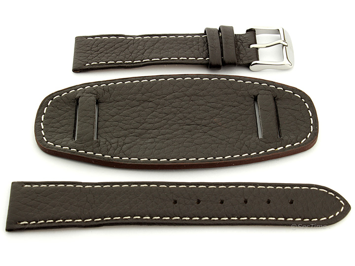 Watch Strap Leather Dark Brown with Wrist Pad Monte 02