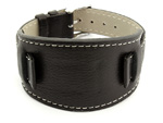 Leather Watch Strap with Wrist Pad MONTE Black 22mm
