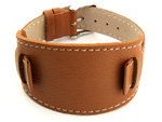 Leather Watch Strap with Wrist Pad MONTE Brown 22mm