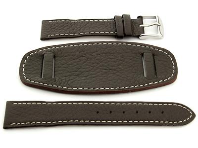 76f377566 Leather Watch Strap with Wrist Pad MONTE Dark Brown 22mm