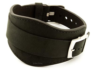 Genuine Leather One-piece Cuff Pad Watch Strap Band Moscow Black 18mm