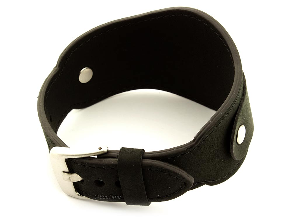 Genuine Leather One-piece Cuff Pad Watch Strap Band Moscow  Black 02