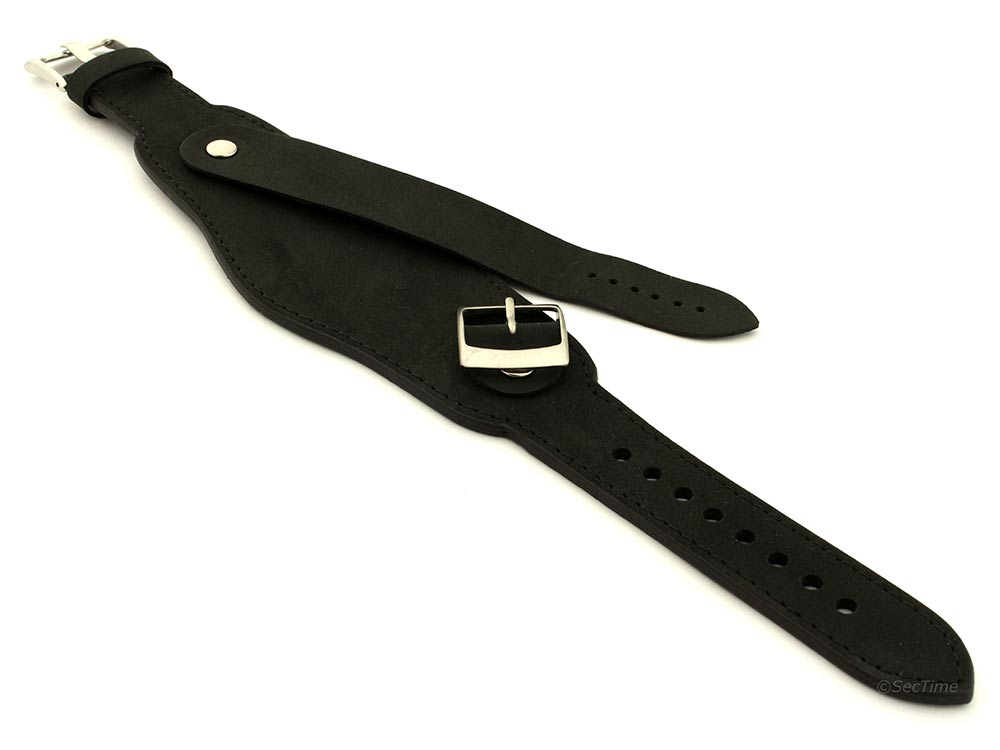 Genuine Leather One-piece Cuff Pad Watch Strap Band Moscow  Black 04