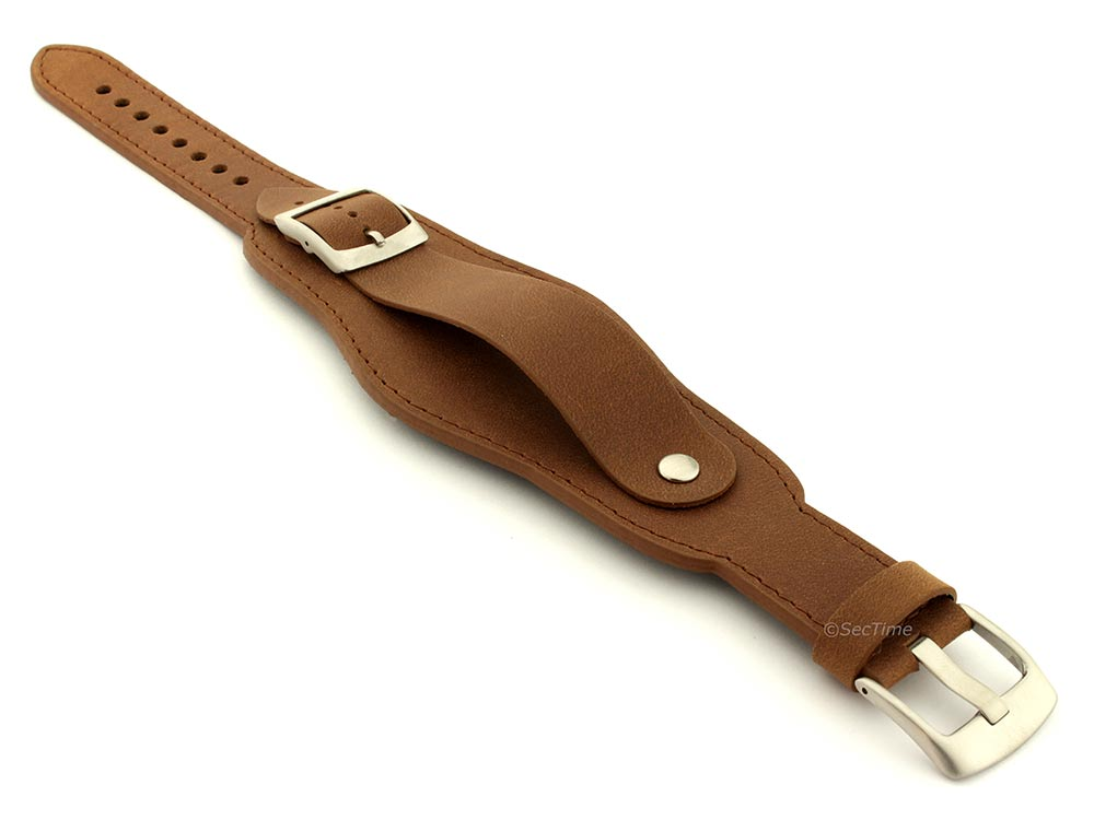 Genuine Leather One-piece Cuff Pad Watch Strap Band Moscow  Brown 03