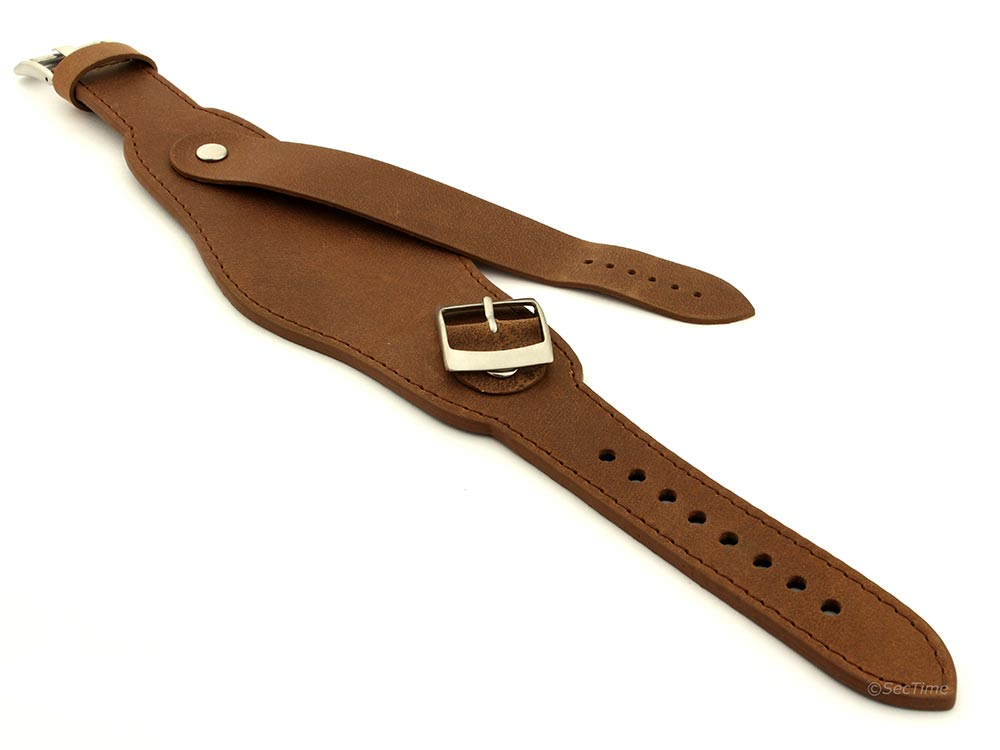 Genuine Leather One-piece Cuff Pad Watch Strap Band Moscow  Brown 04