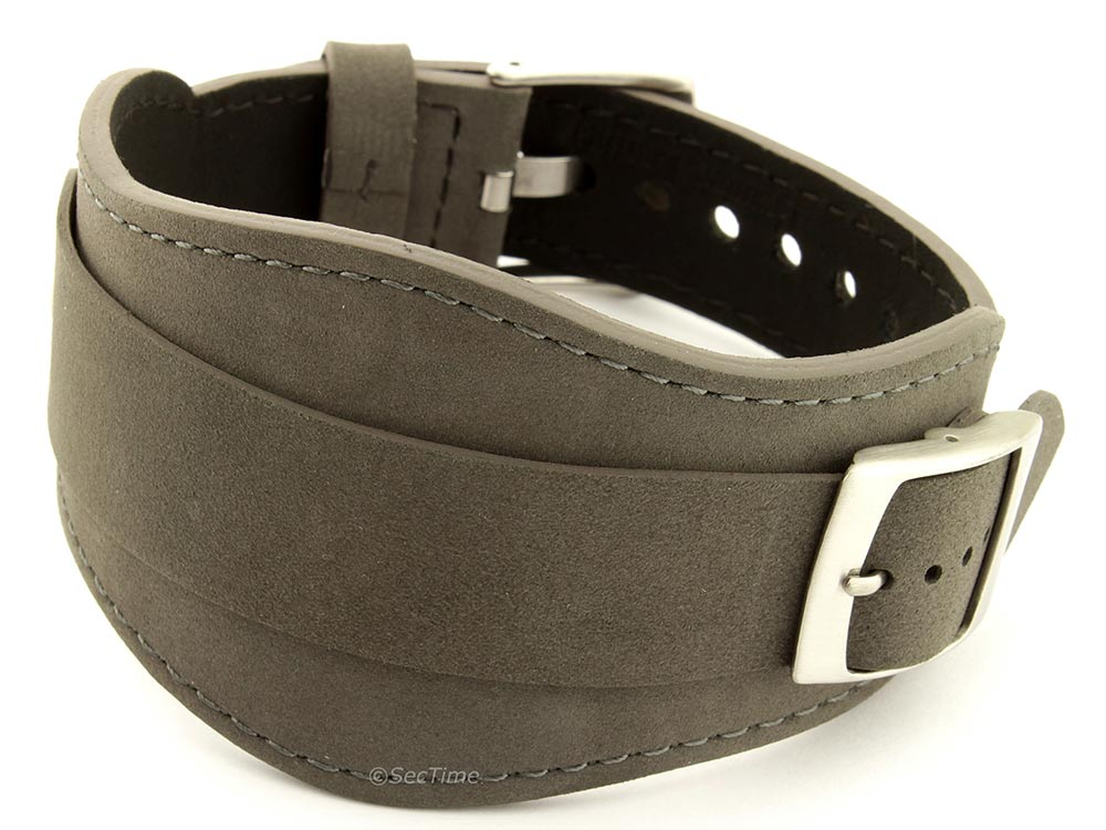 Genuine Leather One-piece Cuff Pad Watch Strap Band Moscow Grey 18mm