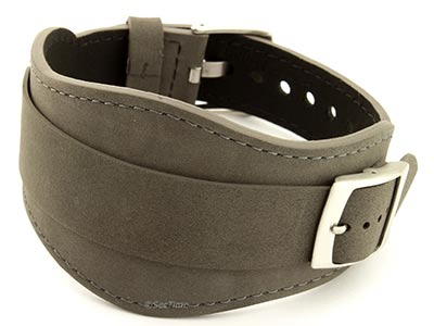 Genuine Leather One-piece Cuff Pad Watch Strap Band Moscow Grey 22mm