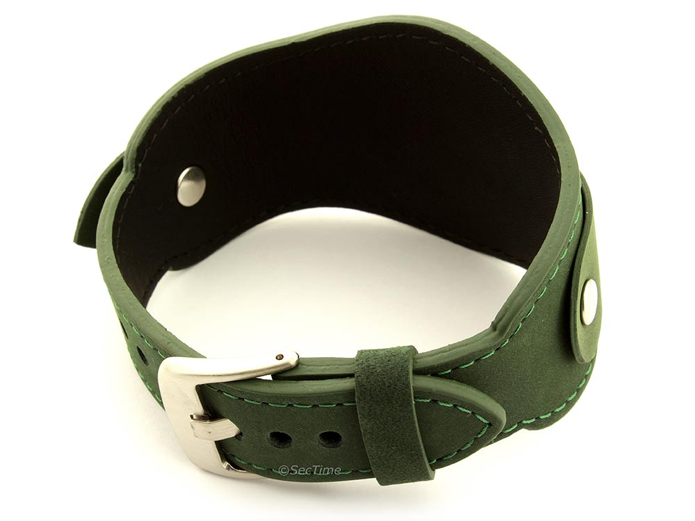Genuine Leather One-piece Cuff Pad Watch Strap Band Moscow  Green 02