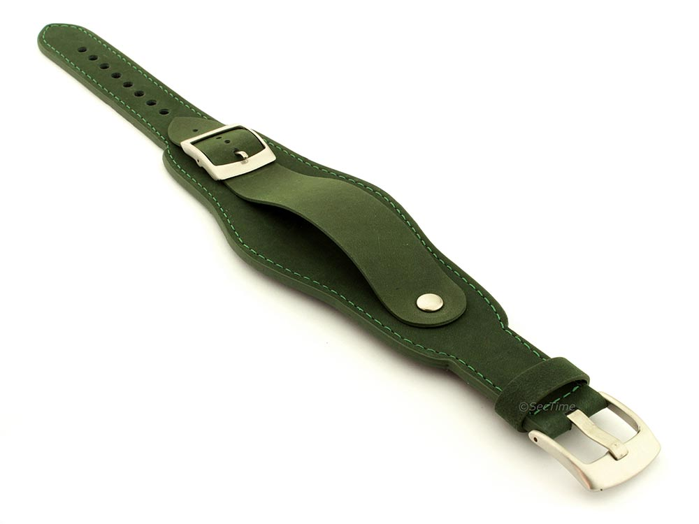 Genuine Leather One-piece Cuff Pad Watch Strap Band Moscow  Green 03