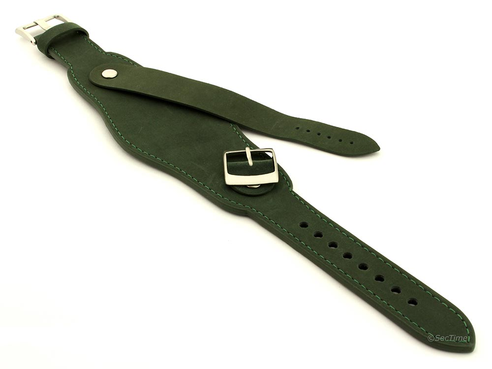 Genuine Leather One-piece Cuff Pad Watch Strap Band Moscow  Green 04