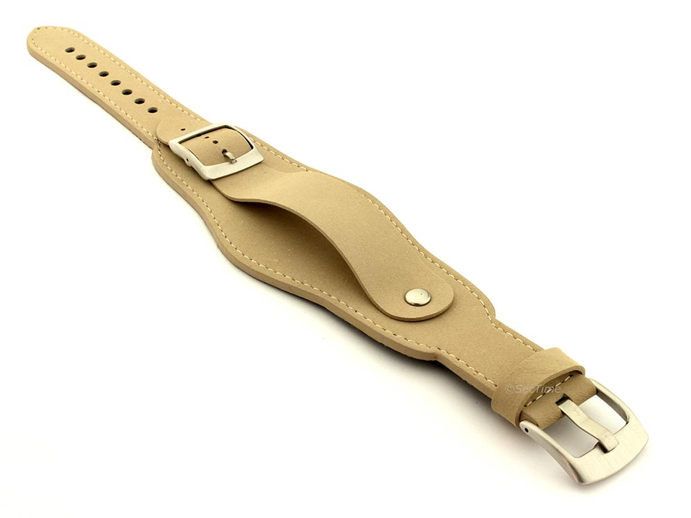 Genuine Leather One-piece Cuff Pad Watch Strap Band Moscow  Beige 03