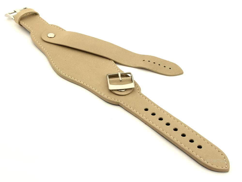 Genuine Leather One-piece Cuff Pad Watch Strap Band Moscow  Beige 04