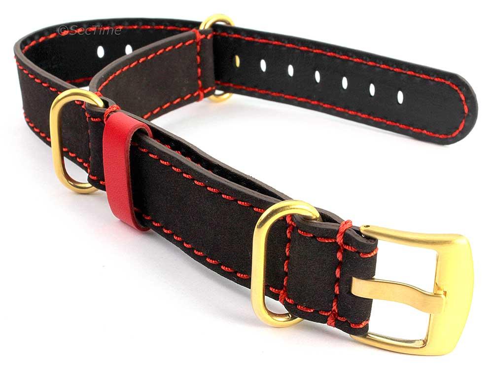Suede Genuine Leather Watch Strap Nato Cayman Gold-Coloured Buckle Dark Brown 01