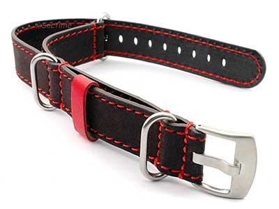 Suede Genuine Leather Watch Strap Nato Cayman Silver-Coloured Buckle Dark Brown 01
