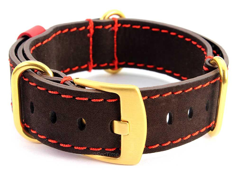 Suede Genuine Leather Watch Strap Nato Cayman Gold-Coloured Buckle Dark Brown 02
