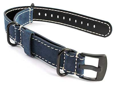 Suede Leather Watch Strap Nato Cayman PVD (Black) Buckle Blue 22mm