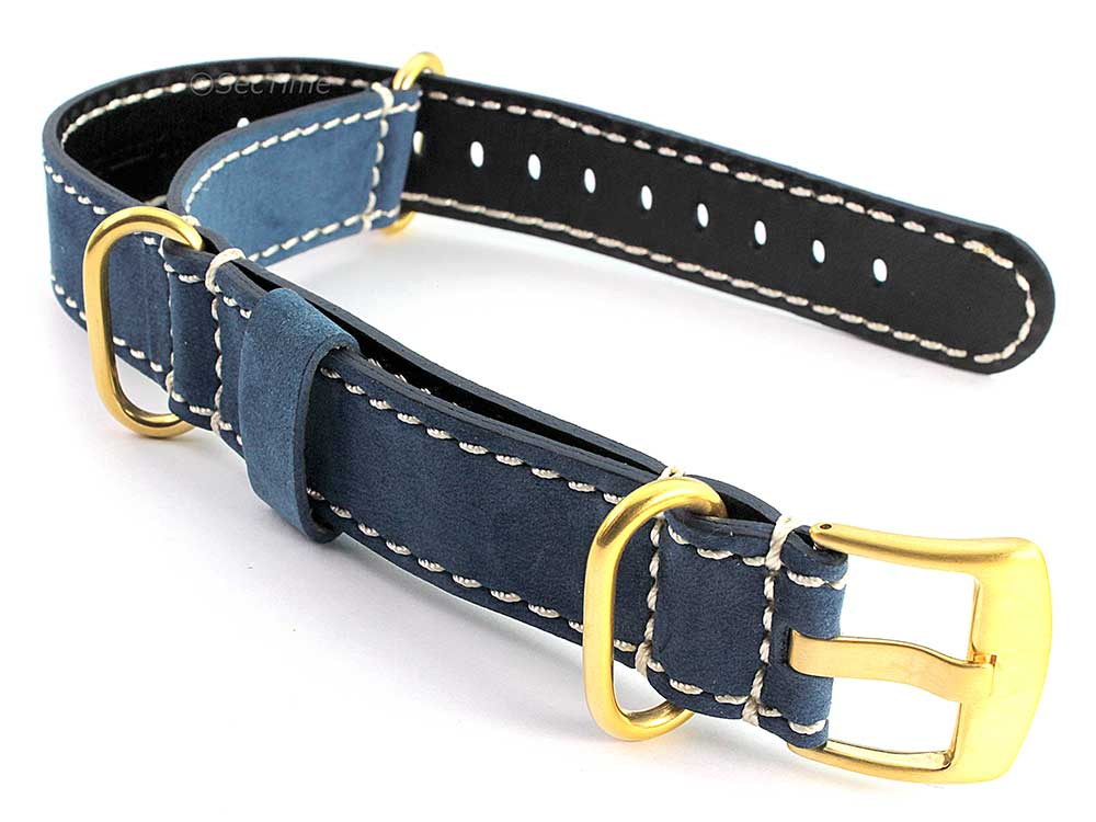 Suede Genuine Leather Watch Strap Nato Cayman Gold-Coloured Buckle Blue 01