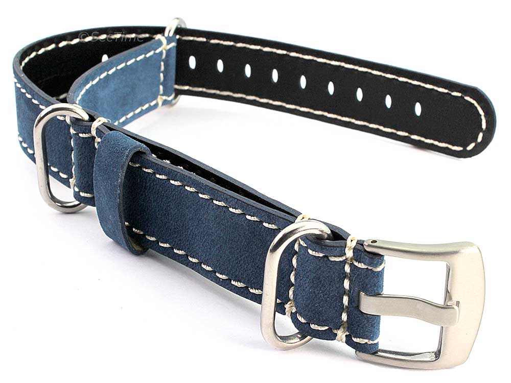 Suede Genuine Leather Watch Strap Nato Cayman Silver-Coloured Buckle Blue 01