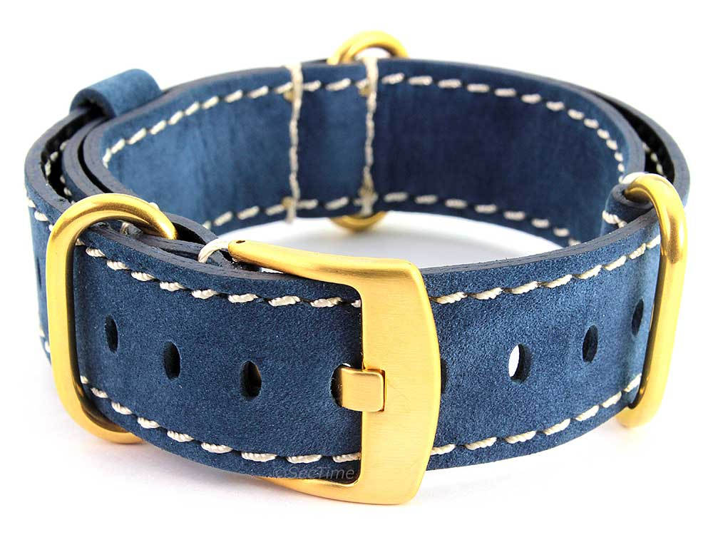 Suede Genuine Leather Watch Strap Nato Cayman Gold-Coloured Buckle Blue 02