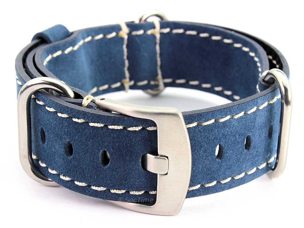Suede Genuine Leather Watch Strap Nato Cayman Silver-Coloured Buckle Blue 02