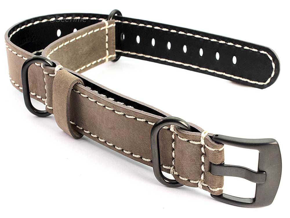 Suede Genuine Leather Watch Strap Nato Cayman PVD (Black) Buckle Coyote Brown 01