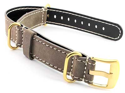 Suede Leather Watch Strap Nato Cayman Gold-Coloured Buckle Coyote Brown 22mm