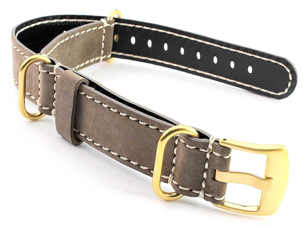 Suede Genuine Leather Watch Strap Nato Cayman Gold-Coloured Buckle Coyote Brown 01