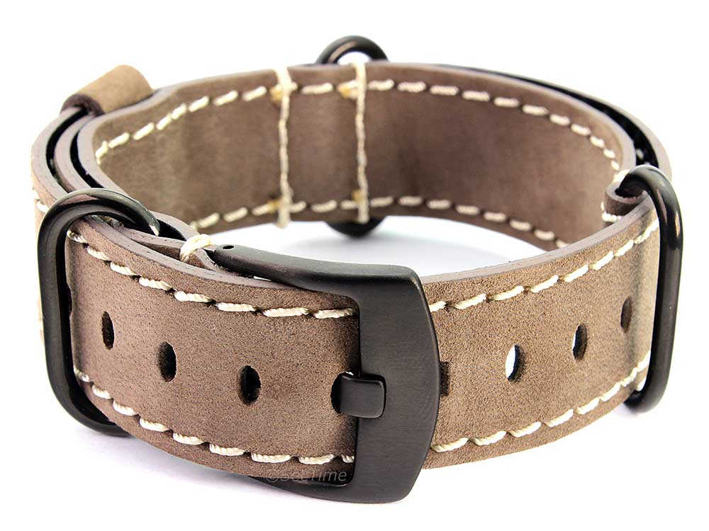 Suede Genuine Leather Watch Strap Nato Cayman PVD (Black) Buckle Coyote Brown 02