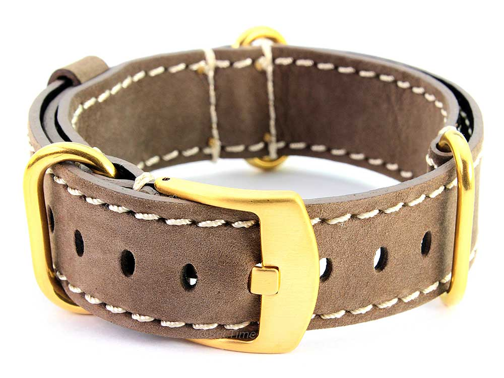 Suede Genuine Leather Watch Strap Nato Cayman Gold-Coloured Buckle Coyote Brown 02