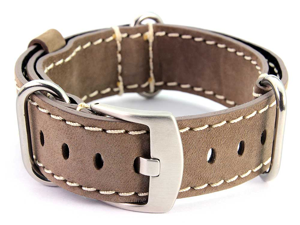 Suede Genuine Leather Watch Strap Nato Cayman Silver-Coloured Buckle Coyote Brown 02