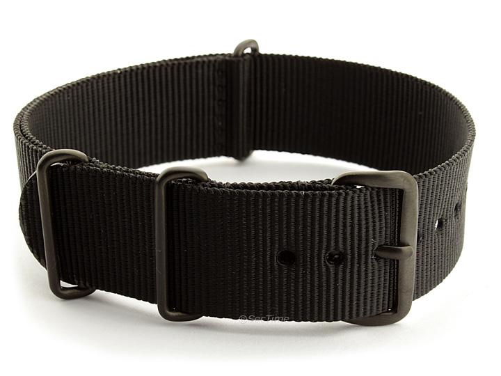 Nato G10 Nylon Watch Strap PVD Buckle Black 01