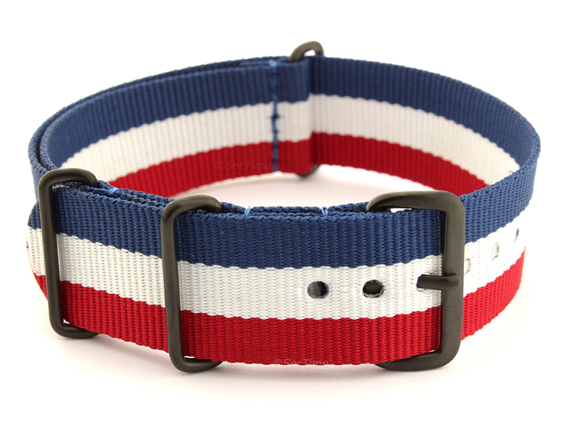 Nato G10 Nylon Watch Strap PVD Buckle Blue/White/Red (France) 01