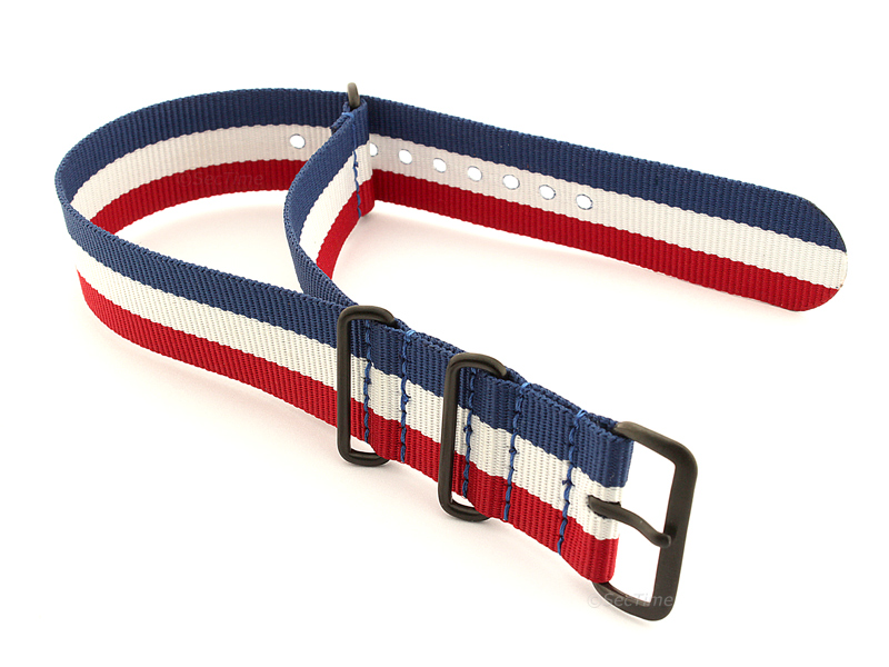 Nato G10 Nylon Watch Strap PVD Buckle Blue/White/Red (France) 02