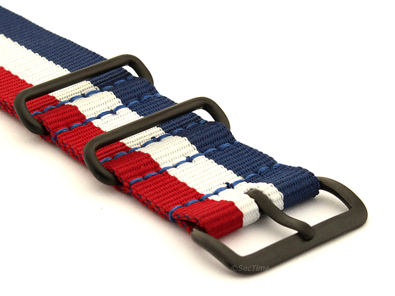 Nato G10 Nylon Watch Strap PVD Buckle Blue/White/Red (France) 03