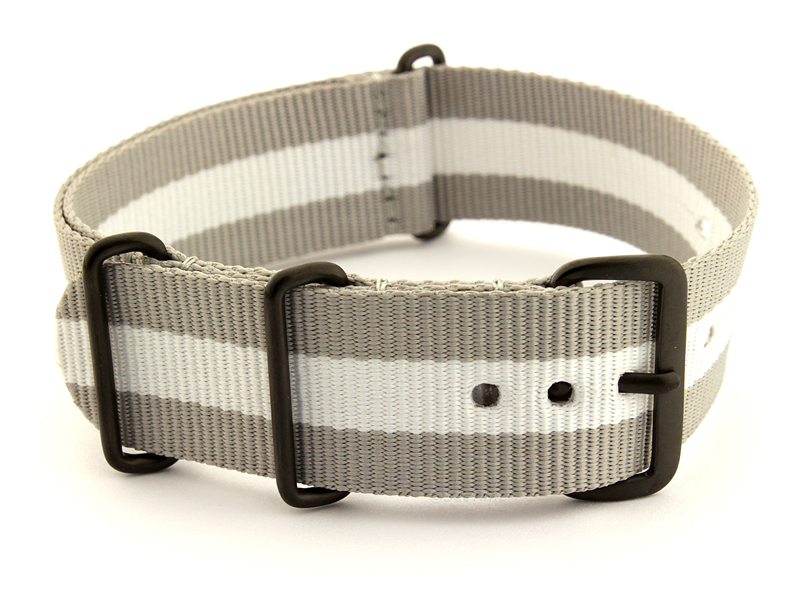 Nato G10 Nylon Watch Strap PVD Buckle Grey/White (3) 01