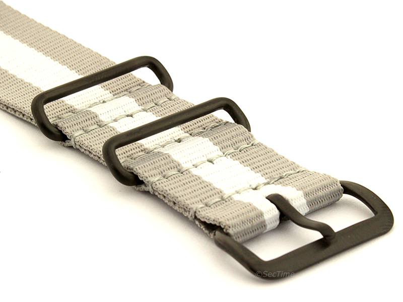 Nato G10 Nylon Watch Strap PVD Buckle Grey/White (3) 03