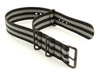 James Bond Nato G10 Nylon Watch Strap PVD Buckle Black/Grey 02