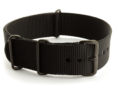 Nato G10 Nylon Watch Strap PVD Buckle Black 01