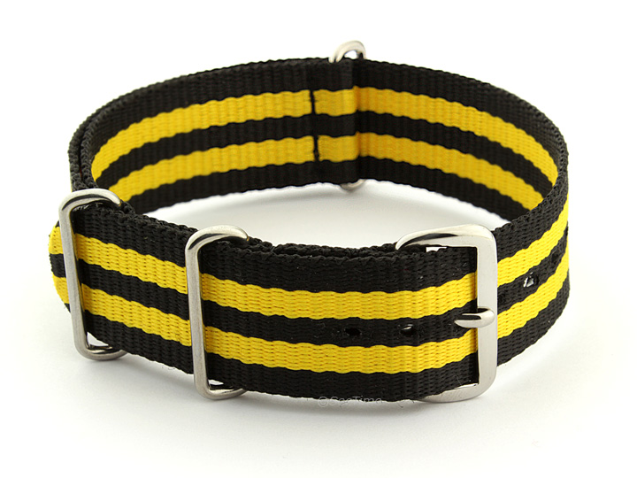 Nato Watch Strap Nylon G10 Black/Yellow (5) 01
