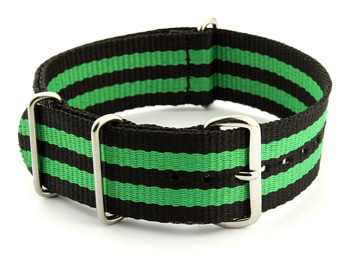 Nato Watch Strap Nylon G10 Black/Green (5) 01