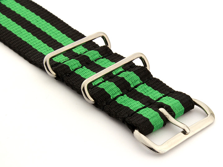 Nato Watch Strap Nylon G10 Black/Green (5) 03