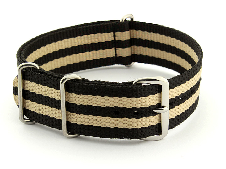 Nato Watch Strap Nylon G10 Black/Beige (5) 01