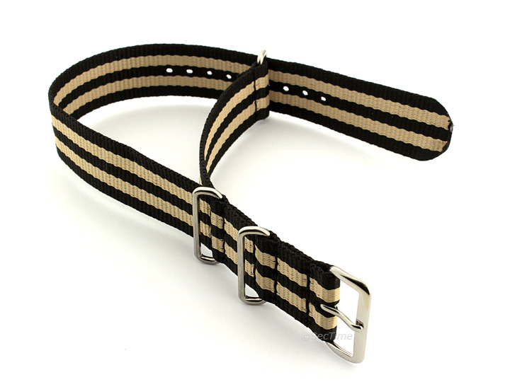 Nato Watch Strap Nylon G10 Black/Beige (5) 02