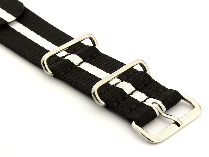 Nato Watch Strap Nylon G10 Black/White (3) 03
