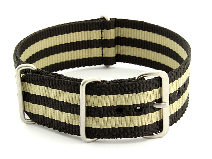 Nato Watch Strap Nylon G10 Black/Beige (5B) 01