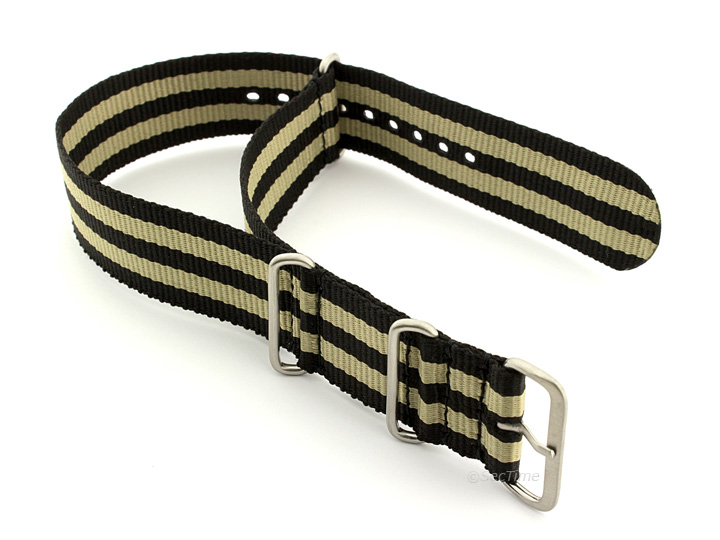 Nato Watch Strap Nylon G10 Black/Beige (5B) 02