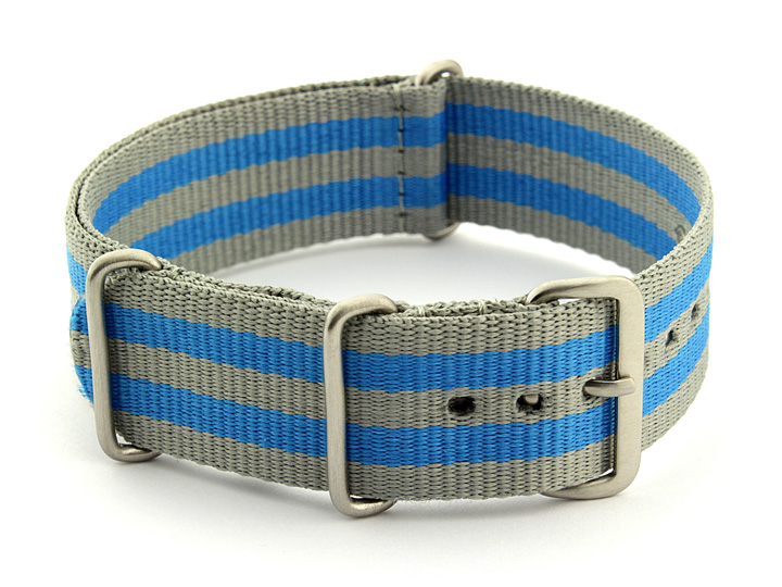 Nato Watch Strap Nylon G10 Grey/Blue (5B) 01