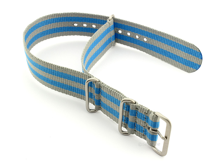 Nato Watch Strap Nylon G10 Grey/Blue (5B) 02