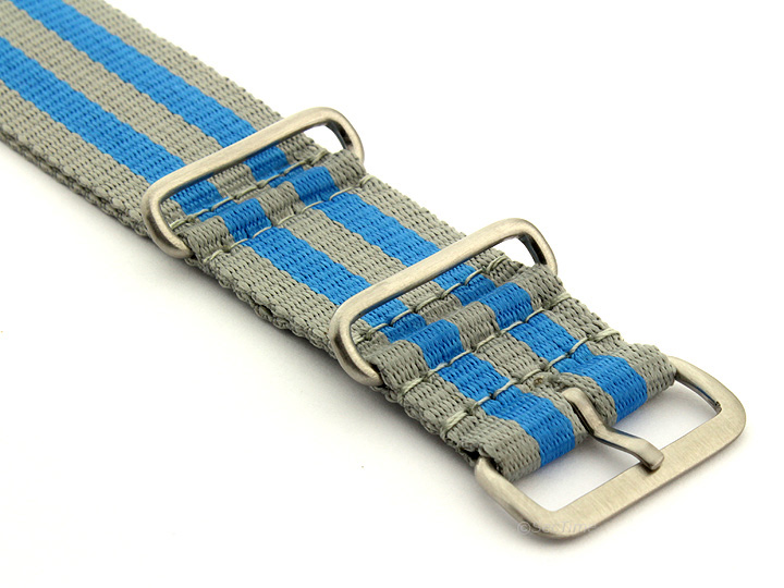 Nato Watch Strap Nylon G10 Grey/Blue (5B) 03