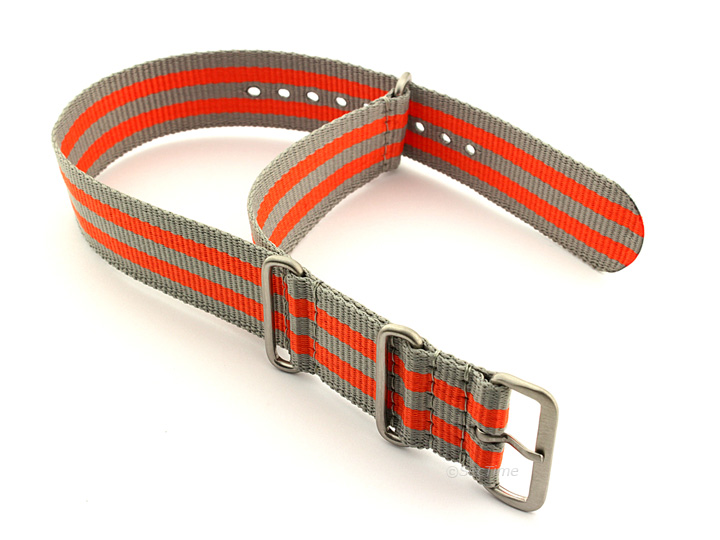 Nato Watch Strap Nylon G10 Grey/Orange (5B) 02